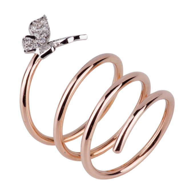 Ring rosé met witgoud - Butterfly Collectie