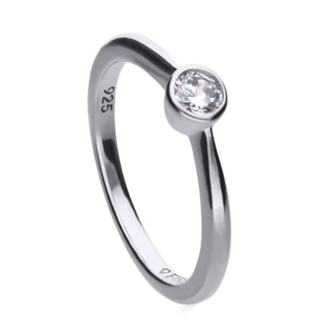 Diamonfire zilveren solitaire ring 0,25 crt