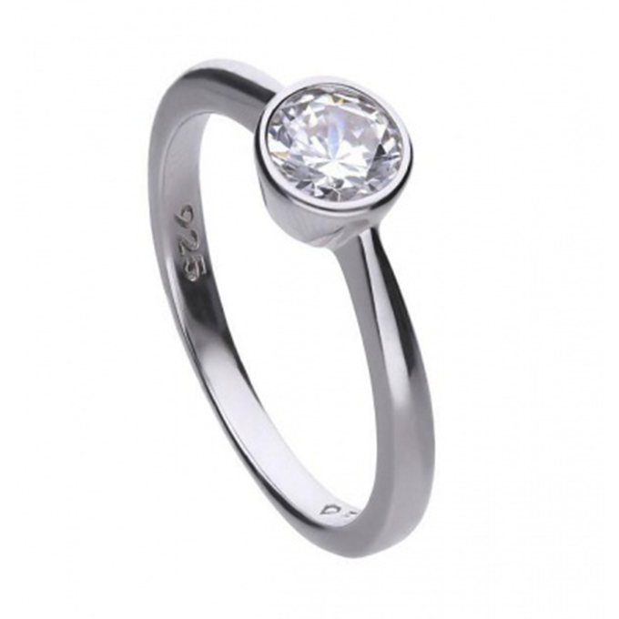Diamonfire zilveren solitaire ring 0,75 crt