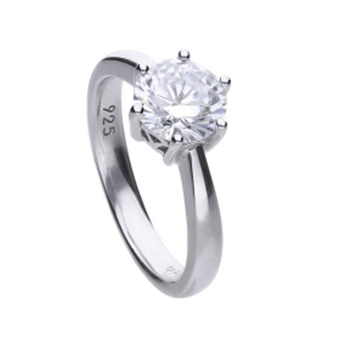 Diamonfire zilveren solitaire ring 2,00 crt
