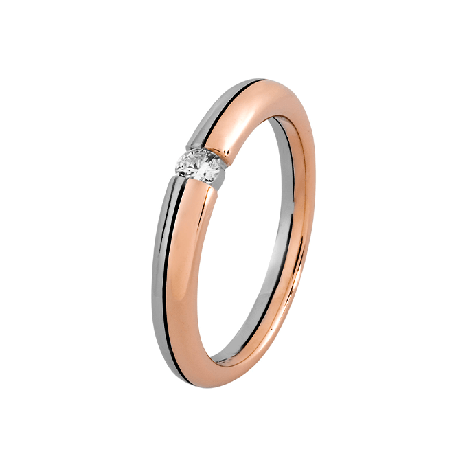Bi-color ring met roségoud en witgoud