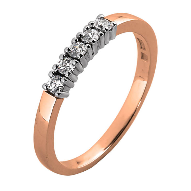 Roségouden ring met diamanten